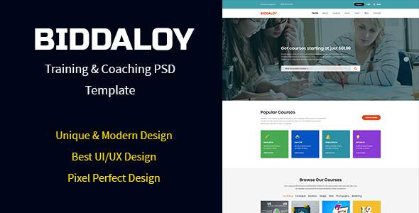 BIDDALOY - Training & Coaching PSD Template            TFx Hasan Ewart