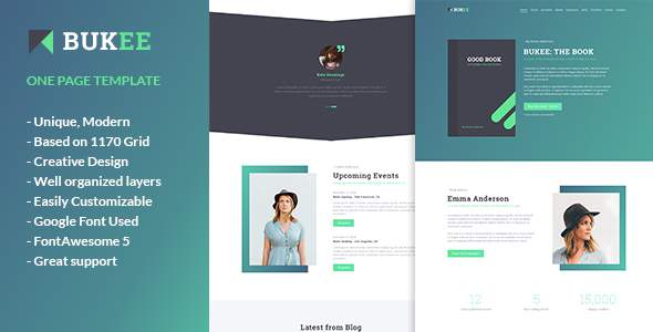 BUKEE - Book Author One Page PSD Template      TFx Lewin Jewell