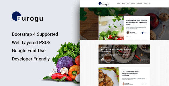 Burogu - Modern Blog Website PSD Template            TFx Goddard Gyles