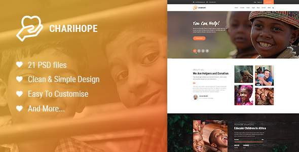 Charihope | Charity and Donate PSD Template            TFx Linton Alphonsus