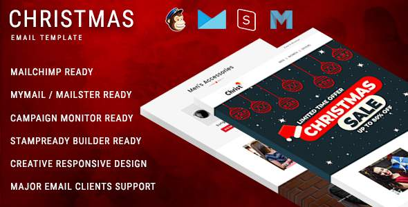 Christmas - New Year Responsive Email Template with Mailchimp Editor & Online StampReady Builder Acc      TFx Octavian Aucaman