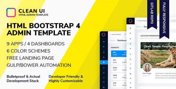 Clean UI HTML — Bootstrap Admin Template            TFx Nik Jasper