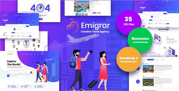Emigrar- Creative Travel Agency PSD Template            TFx Ivan Randolph