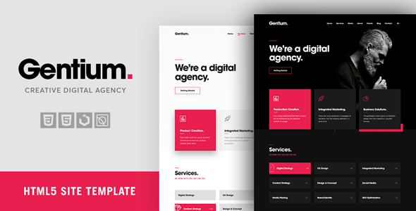 Gentium – A Creative Digital & Marketing Agency OnePage Template            TFx Osbert Yuudai