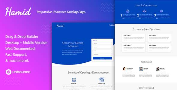 Hamid — Responsive Unbounce Landing Page Template            TFx Giles Grady