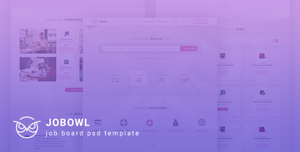 Jobowl - Creative Job Board PSD Template      TFx Harper Major