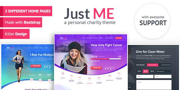 Just Me - Your Personal Charity, Donation or Fundraiser Template            TFx Hayden Blake
