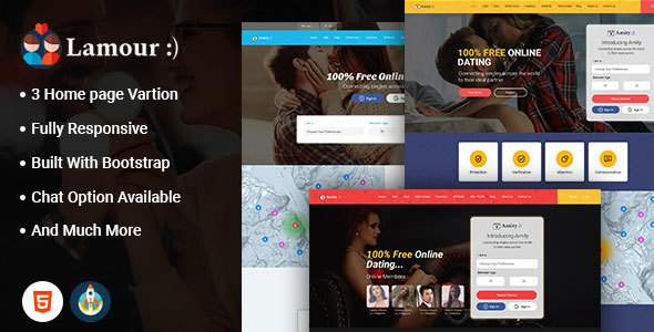 Lamour - Dating Website HTML5 Template      TFx Byrne Mahpiya