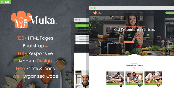 Muka - Bakery and Cooking Classes HTML Template      TFx Shouta Jewell