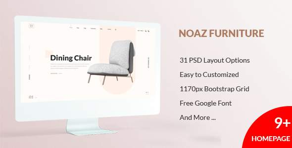 NOAZ – Furniture Ecommerce PSD Template            TFx Jerald Jericho