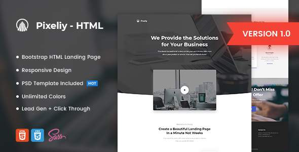 Pixeliy - Business HTML Landing Page Template            TFx Arif Vivian