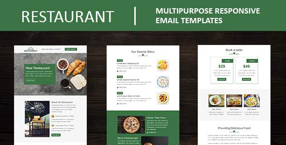 Restaurant - Multipurpose Responsive Email Template with Mailchimp Editor & Online StampReady Builde            TFx Sota Daud