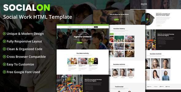 Socialon - Social Work Activity HTML Template            TFx Haik Reuben