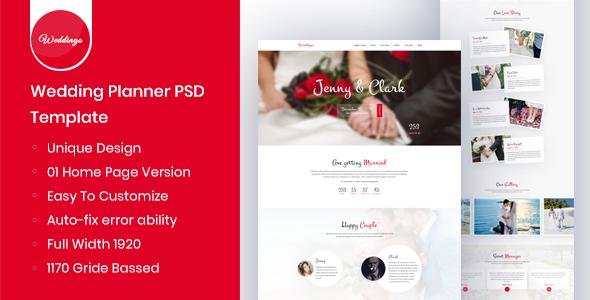 Weddingo - OnePage Wedding Planner PSD Template            TFx Richard Griffin