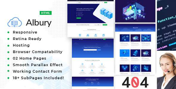 Albury – Responsive Hosting, Domain and Technology Template        TFx Ross Norman