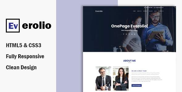 Everolio  – One Page HTML5 Bootstrap4 Template        TFx Sean Tim