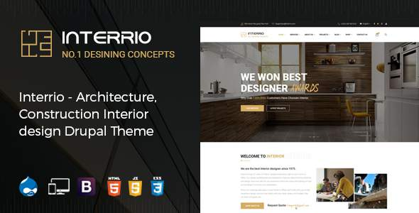Interrio – Architecture, Construction, and Interior Design Drupal Theme        TFx Jools Garfield