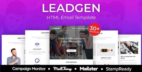 LeadGen – Multipurpose Responsive Email Template 30+ Modules – StampReady + Mailster & Mailchimp        TFx Xavior Raymund