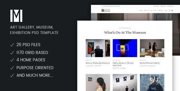 Muzze - Museum & Art Gallery Exhibition Psd Template        TFx Poghos Winfred