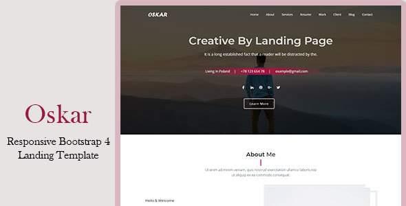 Oskar – Responsive Bootstrap 4 Landing Template        TFx Linwood Muhammad