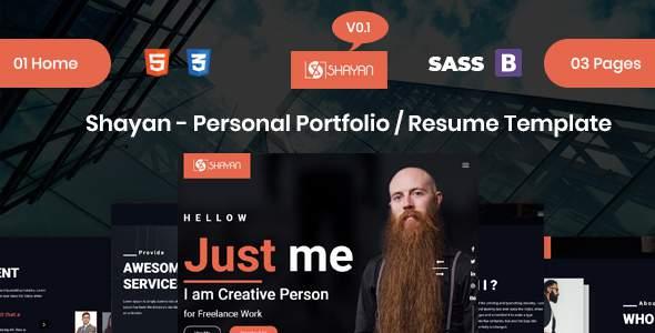 Shayan - Personal Portfolio / Resume HTML Template        TFx Headley Sargon