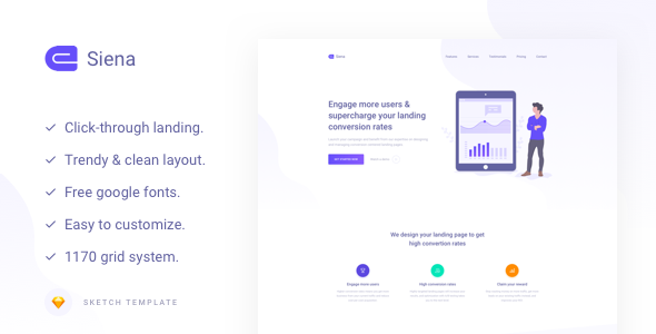 Siena - Marketing Landing Page Template        TFx Dallas Kade
