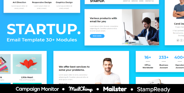 Startup - Agency Responsive Email Template 30+ Modules - StampReady + Mailster & Mailchimp Editor        TFx Ryouta Jezza