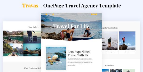 Travas - OnePage Travel Agency Template        TFx Shelton Kenta