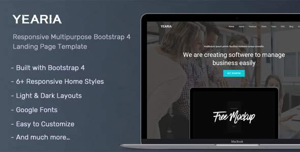 Yearia – Multipurpose Landing Page Template        TFx Jerome Marlon