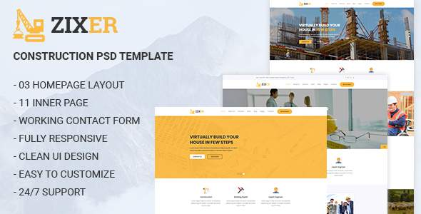 ZIXER - Construction Building Company Template        TFx Stanford Anthony