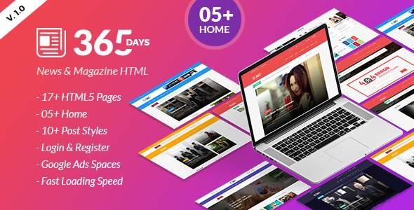 365 Days | News HTML Template        TFx Yoshiro Niles