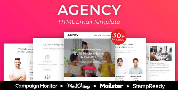 Agency - Multipurpose Responsive Email Template 30+ Modules - StampReady + Mailster & Mailchimp        TFx Ryouichi Odell