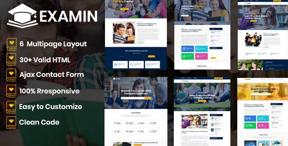 Examin - Education and LMS Template        TFx Mikey Darwin