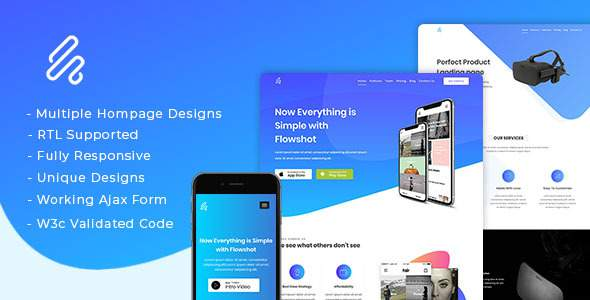 Flowshot – Multi Concept App & SaaS Landing Page + RTL Support        TFx Jett Carter