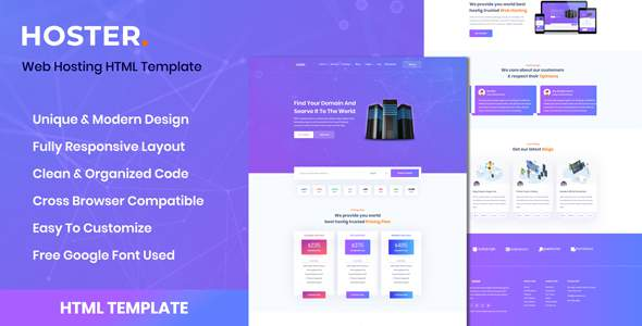 Hoster – Domain Hosting Business HTML Templates        TFx Grey Galen