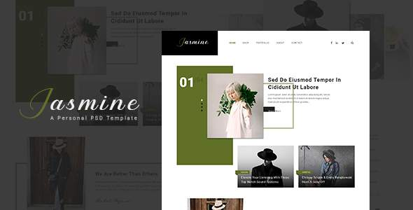 Jasmine - Ultimate Personal Blog PSD Template        TFx Byron Amaru