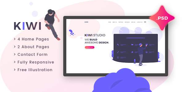 Kiwi – Creative One Page PSD Template        TFx Satchel Granville