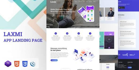 Laxmi – Responsive App Landing Page        TFx Ken Durward