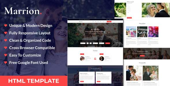 Marrion – Marriage Agency & Matchmaker Business HTML Template        TFx Made Spencer