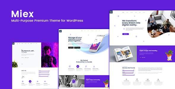Miex - One Page Parallax WordPress Theme        TFx Goro Adi