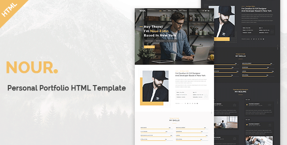 Nour - Personal Portfolio HTML Template        TFx Domitian Wolfe