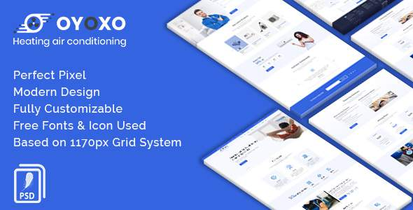 OYOXO - Heating air conditioning services PSD Template        TFx Ethan Brock