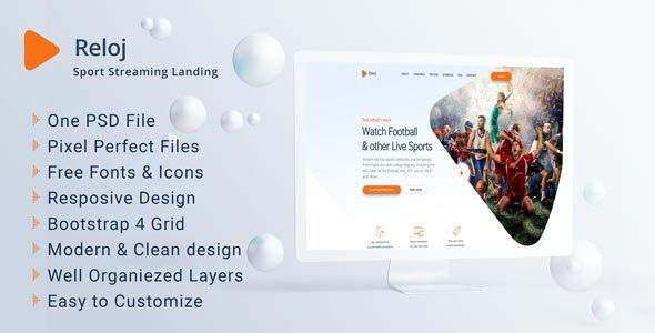 Reloj – Sports Streaming Landing PSD Templates        TFx Jayceon Graeme