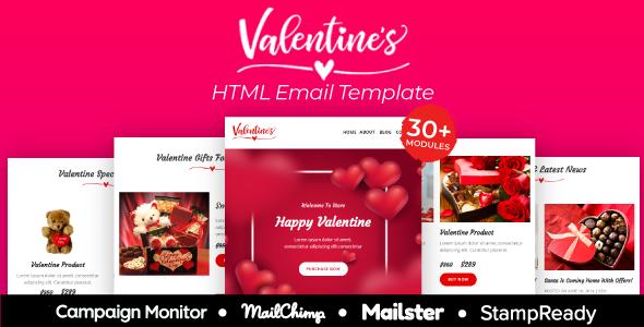Valentine - Responsive Email Template 30+ Modules - StampReady + Mailster & Mailchimp        TFx Gaz Emmanuel
