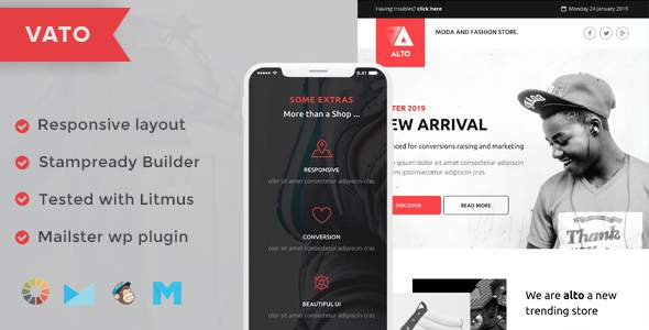 Vato Responsive Email Template + Stampready Builder + Mailchimp + Mailster        TFx Nobuyuki Isidore