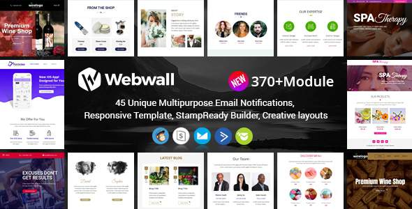 Webwall- 370+ Modules - Responsive Email Template + Builder        TFx Arnold Gene