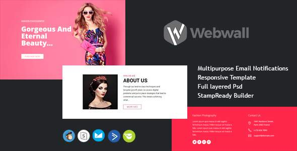 Webwall Newsletter Template with StampReady Online Builder Access        TFx Cordell Rick