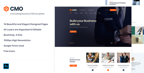 CMO - Corporate Consulting Business PSD Template        TFx Darrell Finnegan
