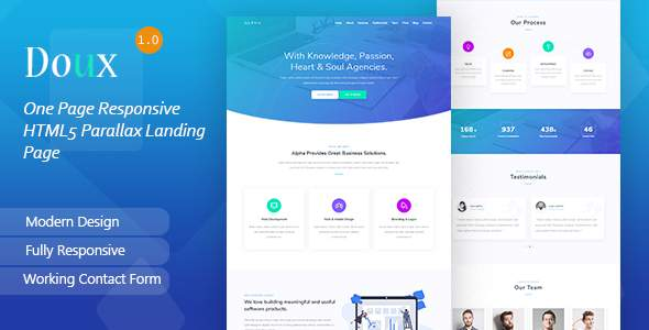 Doux - One Page Responsive HTML5 Parallax Landing Page        TFx Dale Lanford