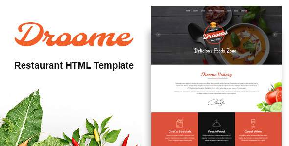 Droome – Restaurant HTML5 Template        TFx Quinlan Jax